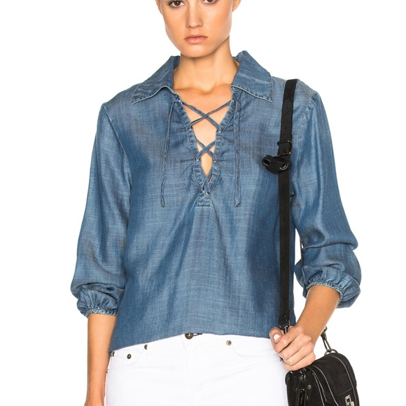 0bb435f058 ✨NWT✨ Frame Denim Chambray Lace Up Top